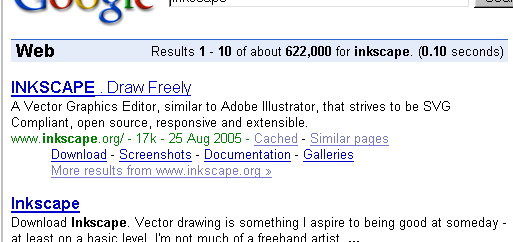 [Cropped screenshot of Google's search results for 'Inkscape']