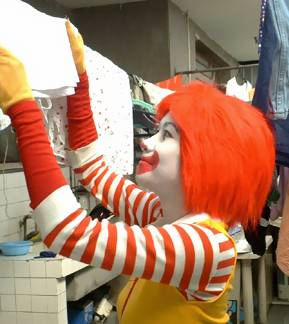 Mrs. Ronald McDonald doing the laundry