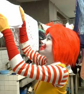 Mrs. Ronald McDonald doing the laundry