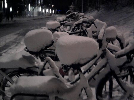 [photo of snowy bikes]