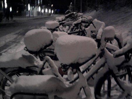 [photo of snowy bikes]