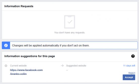 [The Facebook dialog for managing change requests.]
